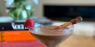 dessert cocktail chocolate raspberry martini